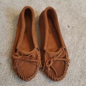Minnetonka Leather Suede Brown Moccasins size 7